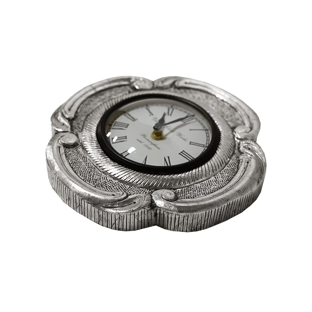Pure Silver Round Wall Clock  (Flower Design)