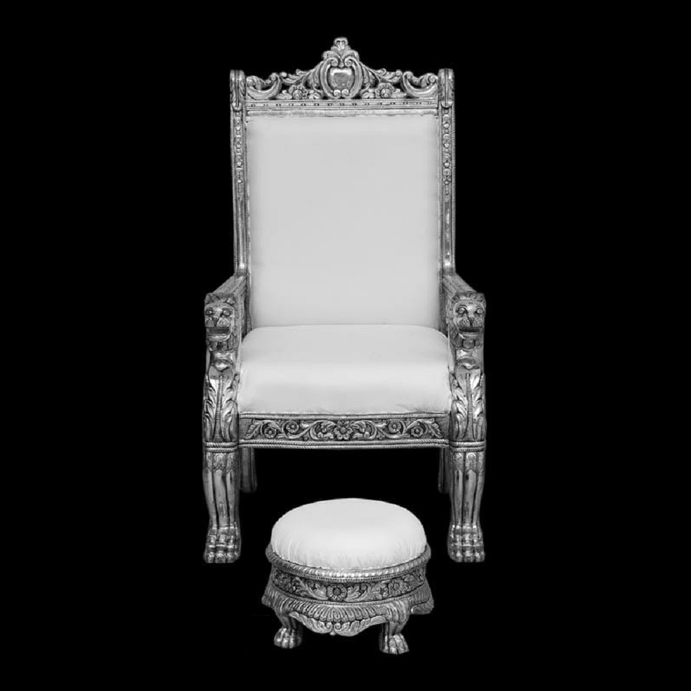 Silver Chair with Stool