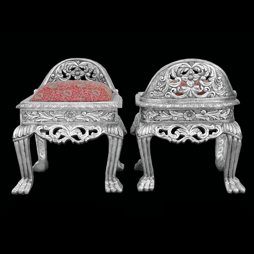 Silver Stool with back