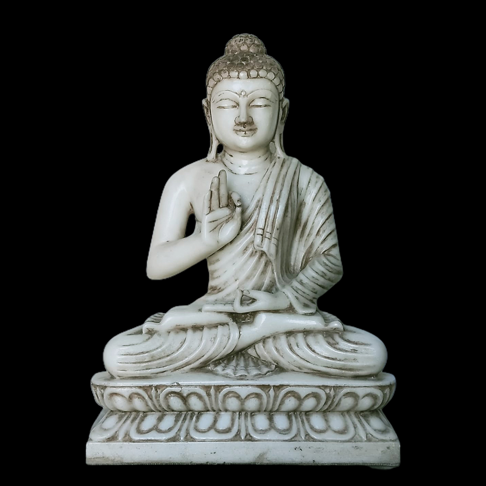 WHITE MARBLE BUDDHA STATUE ANTIQUE FINISH