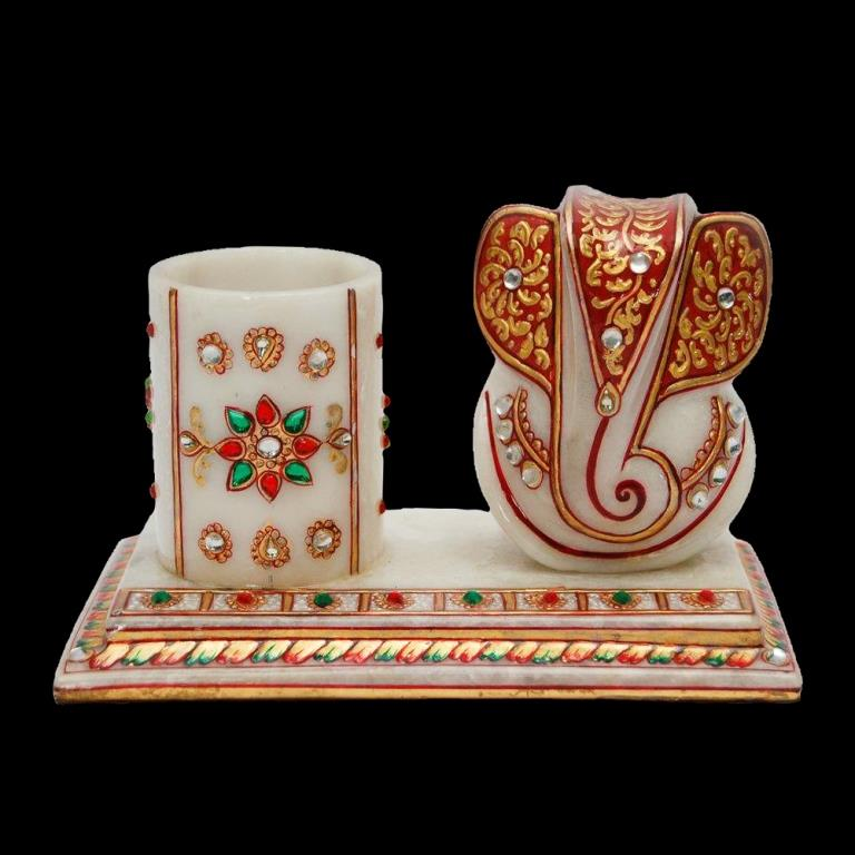 WHITE MARBLE PEN STAND WITH GANPATI